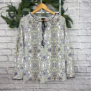 Ann Taylor White with Paisley Pattern Blouse
